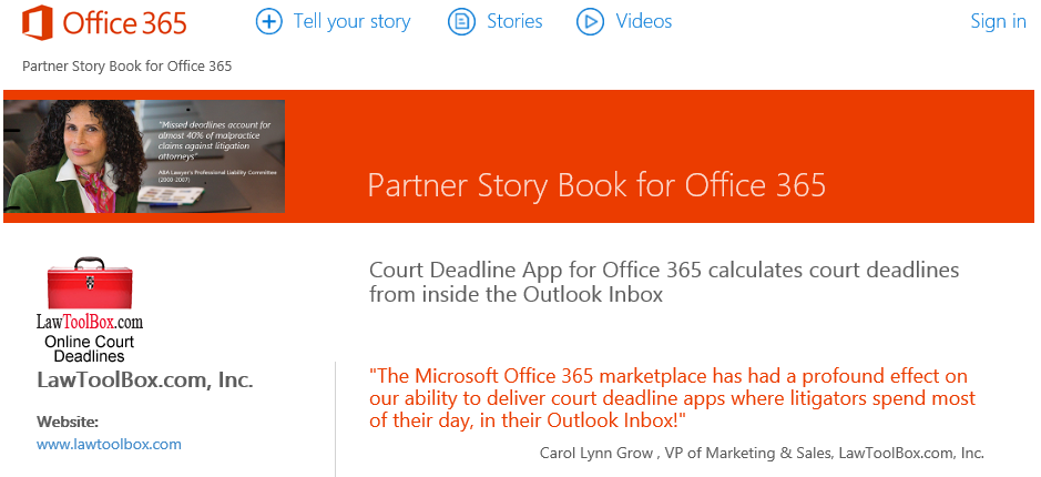 Court Deadline App for Office 365 calculates court deadlines from inside the Outlook Inbox