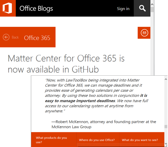 Microsoft Releases Matter Center Code on GitHub and notes LawToolBox Integration