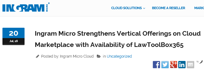 Ingram Micro Strengthens Vertical Offerings on Cloud Marketplace with Availability of LawToolBox365