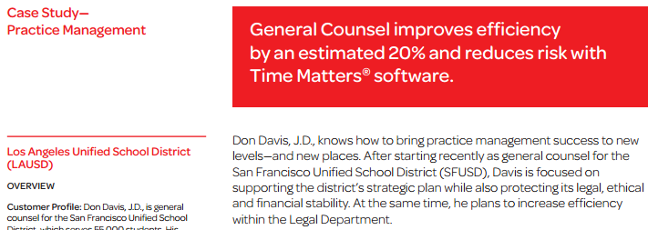 LexisNexis® Case Study on LawToolBox and Time Matters® at LAUSD