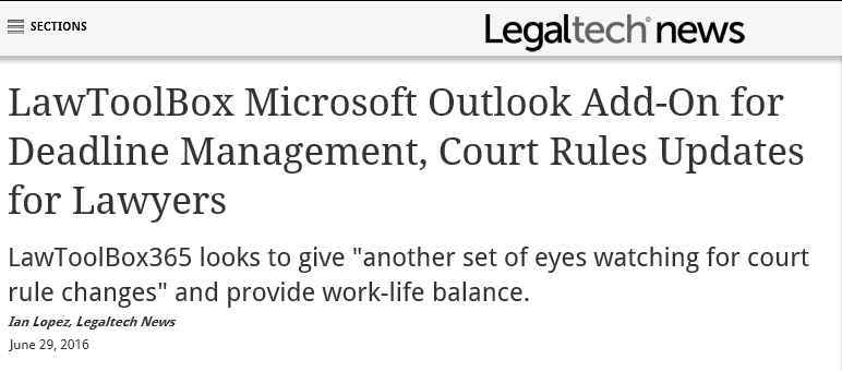 LawToolBox Microsoft Outlook Add-On for Deadline Management, Court Rules Updates for Lawyers