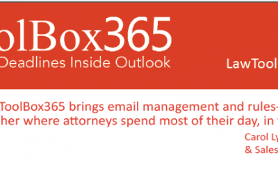 LawToolBox365 Matter-Based Deadlines Inside Outlook