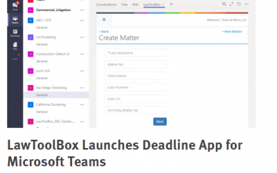 LawToolBox Launches Deadline App for Microsoft Teams