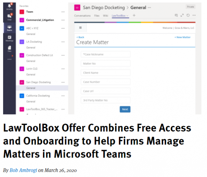 LawToolBox Offer Combines Free Access and Onboarding to Help Firms Manage Matters in Microsoft Teams